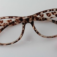 FancyG® Cute Nerd Glass Frame with Bow Tie Knot Cat Eyes for Girls Leopard NO LENS