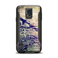 The Abstract Color Floral Painted Wood Planks Samsung Galaxy S5 Otterbox Commuter Case Skin Set