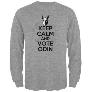 Keep Calm Vote Odin Funny Heather Grey Adult Long Sleeve T-Shirt