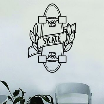 Skateboard Skate Design Wall Decal Decor Decoration Sticker Vinyl Art Bedroom Room Teen Quote Sports Skating