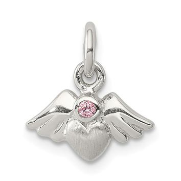 925 Sterling Silver Polished and Satin Heart Shaped with Angel Wings Pink Cubic Zirconia Pendant