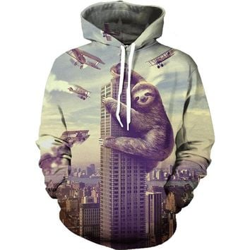 3D Unisex Hoodies Brand 3D Print Sloth casual On the Building Casual Hoodie Sweetshirt Men/Women Casual Tracksuits New Style