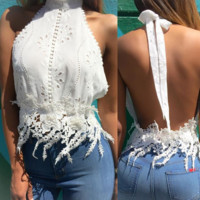 White lace Halter Neck Backless Cami  B0014859