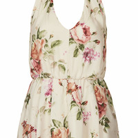 **FLORAL HALTER PLAYSUIT BY LOVE
