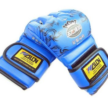 Pro Mixed Material Art Gloves Fight Gloves Blue
