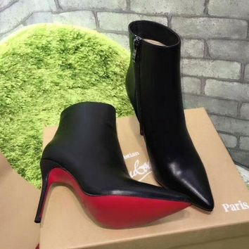 Best Online Sale Christian Louboutin CL Top Leather Ankle Boot Black
