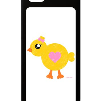 Cute Chick with Bow - Crayon Style Drawing iPhone 5 / 5S Grip Case  by TooLoud