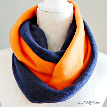 Navy Blue and Orange Fleece Infinity Scarf, Team Scarf, Fall Winter Scarf, Unisex
