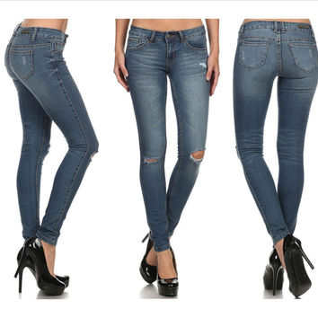 Rock & Royal Ripped Knee Skinny Jeans
