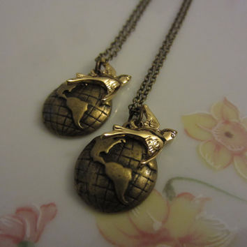 World Traveler Bird and World BFF Necklaces by michaelandsabriney