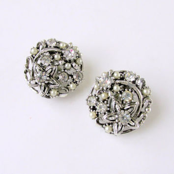 Seed Pearl Rhinestone Cluster Earrings Signed Star Art Nouveau Filigree Design Clip Closure Vintage Collectible Gift Item 1820