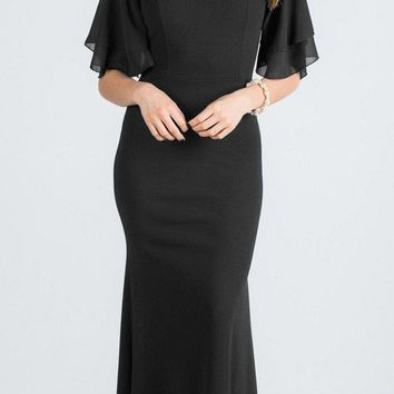 Black Long Formal Dress with Bell Sleeves