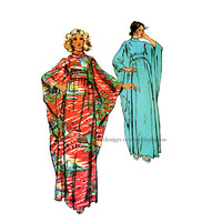 1970s BATWING CAFTAN PATTERN Evening Length Long Kimono Sleeve Standing Neckline Bust 32.5 to 38 Simplicity 5900 Vintage Sewing Patterns