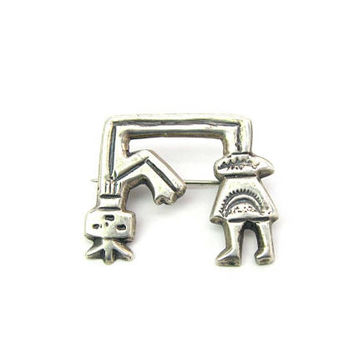 Female Navajo Figure Brooch Sterling Silver Yei Spirit Sand Cast Supernatural Corn Headdress Sun Vintage Native American Harmony Jewelry