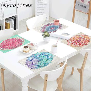 Indian Style Mandala Pattern Napkin 42*32 cm Colored Meditation Pattern Printing Family Table Coffee Shop Decoration Table Mat