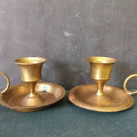 Brass Candle Holders Pair Chamberstick Finger Loop Handle Vintage Lot Of Two Aged Patina Altar Holiday Table  Decor Portable Candlesticks
