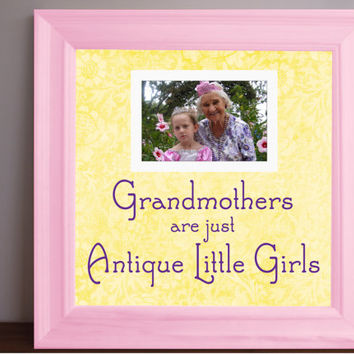 Grandmother Gift - Grandmother Quote frame - Grandma picture frame - grandma grandaughter  - antique little girls - 15x15 frame