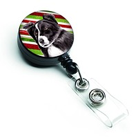 Border Collie Candy Cane Holiday Christmas Retractable Badge Reel SC9327BR