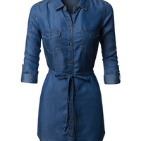 LE3NO Womens Loose Fit Long Sleeve Tencel Denim Shirt Dress with Belt