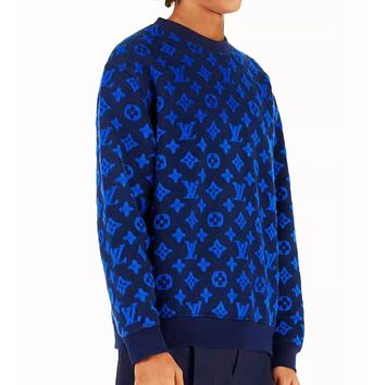 LV Louis Vuitton New Fashion Men Women Casual Jacquard Sweater Top Sweatshirt