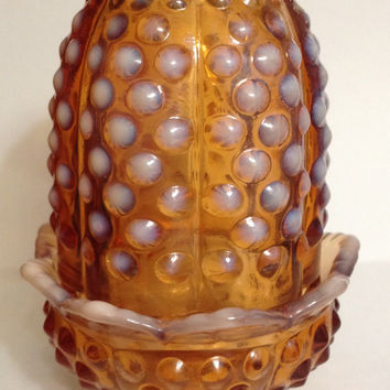 Fenton Cameo Opalescent Hobnail Amber Fairy Lamp 3608 CO