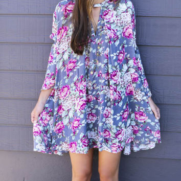 Open Pastures Gray Floral Bell Sleeve Hi-Low Trapeze Dress