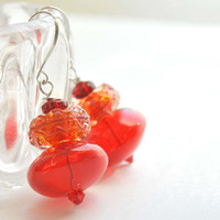 Red Ruffle Earrings, Red Glass Dangle Earrings, Christmas Red Earrings