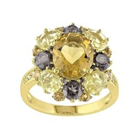 Citrine, Smoky Quartz & Diamond Accent Yellow Rhodium-Plated Sterling Silver Ring (Silver/Yellow/Citrine)