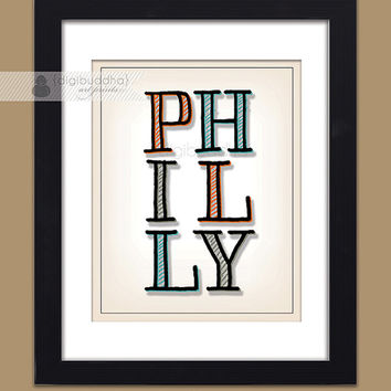Philly Poster Philadelphia Typography Orange Blue Black Bold Modern Sketch Drawing Art Print Typography Poster 11x14 Poster Wall Decor