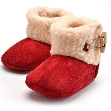 Infants Warm Shoes Wool Girls Baby Booties Leather