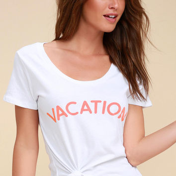 Vacation White Tee