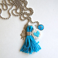 Charm necklace embroidered blue heart, girl milargro charm, blue tassel and evil eye on silver tone ball chain Valentines day gift bestie