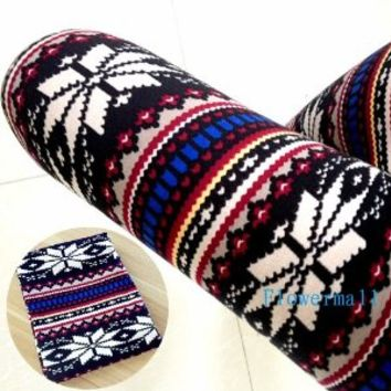 Long Yi Fashion Hot Womens Colorful Pattern Retro Knitted Leggings Tights Pants Multicoloured