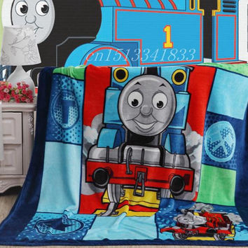 Good Quailty Cute Blue Thomas  blanket Girls plush Blankets Fashion Brand Bedding