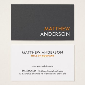 Bold, modern, minimal business cards - gray orange