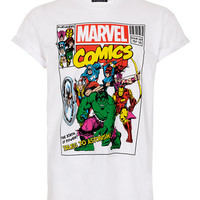 White Marvel High Roll T-Shirt - TOPMAN USA