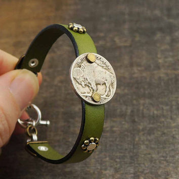Green leather cuff bracelet, mixed metal silver copper, buffalo nickel coin jewelry, 7 1/2 inches 19cm