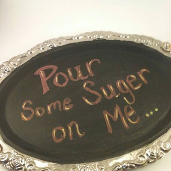 Upcycled | re-purposed | SILVER PLATTER | CHALKBOARD | Coffee Station | Command Center | Love notes | chalkboard sign | Hanging or display
