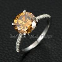 Round Yellow Moissanite Engagement Ring Pave Moissanite Wedding 14K White Gold 10mm