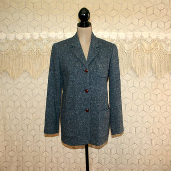 Vintage 80s 90s Gray Tweed Jacket Long Blazer Jacket Wool Coat Small Medium Gray Jacket Wool Jacket Liz Claiborne Womens Vintage Clothing