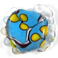 Lampwork Focal Bead Handmade Floral Glass Dark Sky Blue Yellow Flowers
