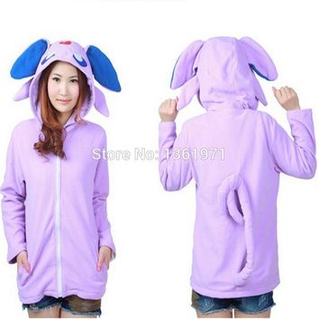 Winter Warm Women Plus Size   Umbreon Purple Animal Kigurumi Hoodie With Ear Cosplay Costume Couple Coat JacketKawaii Pokemon go  AT_89_9