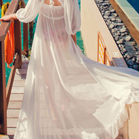 White Lace Maxi Chiffon Cover-Up