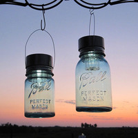 Mason Jar Solar Lights 2 Vintage Blue Mason Ball by treasureagain
