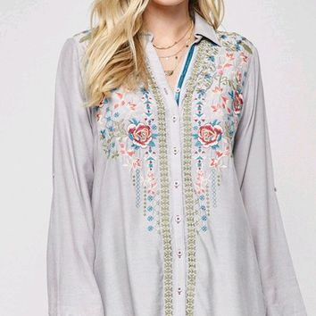Folk Hero Long Tab Sleeve Button Front Floral Pattern Embroidery Blouse Top - 3 Colors Available