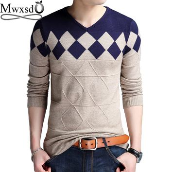 Mwxsd brand Men casual argyle plaid pullover sweater autumn mens slim fit jumpers hombre male cotton sweater pull homme 4xl