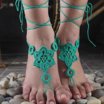 handmade knitting hexagon hollow out lace anklet bracelet crochet barefoot sandals foot jewelry accessory gift 20 2