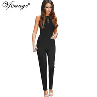 Vfemage Womens Elegant Vintage Lace Pocket Tunic Slim Sleeveless Casual Work Office Party Sheath Fitted Romper Jumpsuit 2841