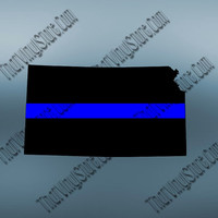Kansas Back the Blue Flag Thin Blue Line Vinyl Decal | Yeti Cop Decal | Distressed American Flag | Blue Lives Matter | 418