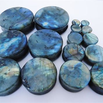 High Flash Labradorite Stone Plugs (0 gauge - 2 inch)